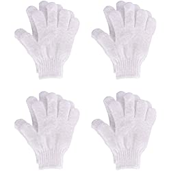 Hotop 4 Pairs Shower Gloves Scrubbing Gloves Dual-sided...