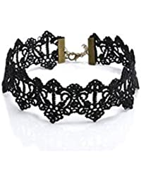ELECTROPRIME Vintage Gothic Lolita Hollow Black Lace Pendant Choker Collar Necklace Jewelry