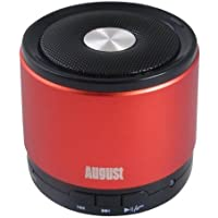 August MS425 Mini Altoparlante Bluetooth con Microfono - Potente Altoparlante Portatile Senza fili con VivaVoce - Compatibile con gli iPhones, Samsung, Galaxy, Nokia, HTC, Blackberry, Google, LG, Nexus, iPad, Tablet, Telefoni cellulari, Smartphones, PC's, Laptops etc (Rosso) - 3 Hp Diffusore