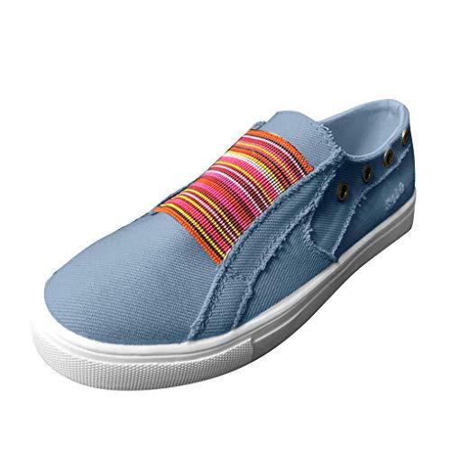 Low Übergrößen Sportschuhe für Damen/Dorical Frauen Slip on Canvas Sneakers, Casual Turnschuhe, Bequeme Outdoor Fitnessschuhe, Leichte Halbschuher Damenschuhe 35-43 EU Ausverkauf(Blau,42 EU) (Shiseido-gesicht Waschen)