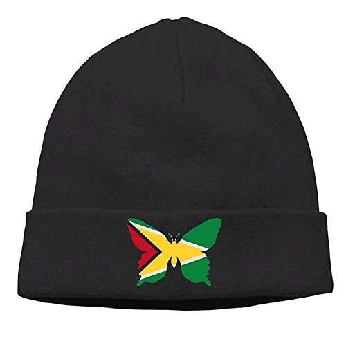 U-Only Men and Women Guyana Flag Butterfly Fleece Beanie Hat Warm Knit Ski Skull Cap
