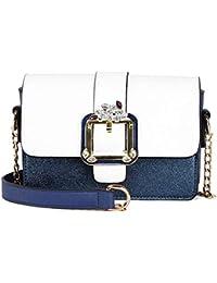 HGDR Damen Mini Schulter Crossbody Bag Damen Leder Handtasche Umhängetasche Clutch Geldbörse mit Kette Schultergurt