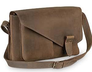 DELARA serviette en cuir de selle asymétrique- bandoulière, épaulette et DELARA soins du cuir inclus - Fabriqué en Allemagne