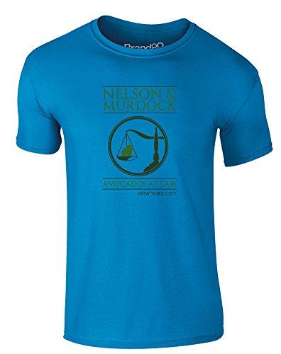 Brand88 - Nelson & Murdock, Erwachsene Gedrucktes T-Shirt Azurblau