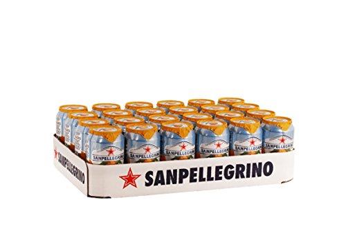 San Pellegrino Aranciata, Orangenlimonade, Hoher Fruchtanteil, 20% frisch gepresste Orangen, Leicht herbe Geschmacksnote, Ohne künstliche Farbstoffe, 24er Pack (24 x 0,33l) Einweg Dosen