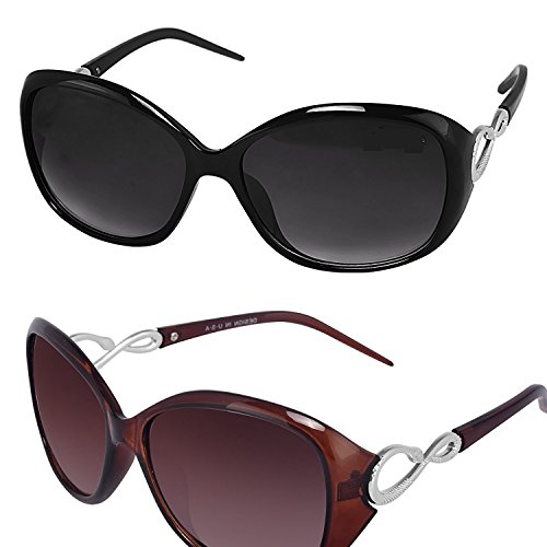 Y&S Womens Sunglasses Of 2 Combo Of 2 Sunglass (Black Brown) Wayfarer Sunglasses For Womens/Girls/Ladies – (Butterfly-Combo-Black-Brown)