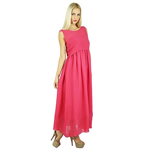 Bimba femmes Maxi Dress Long 2 Piece Georgette Flowy robe à smocks Rose