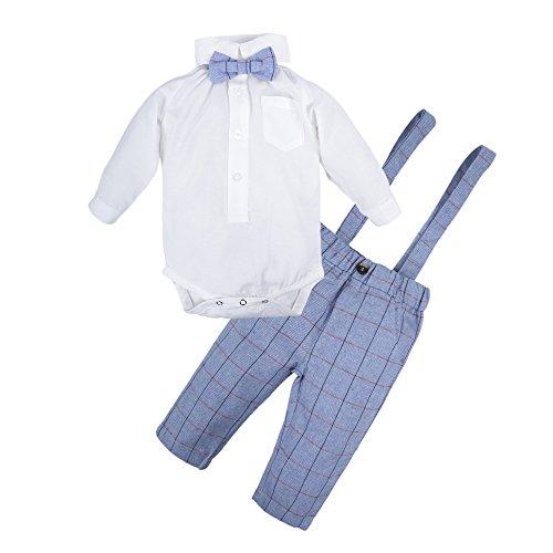 BIG ELEPHANT Baby Jungen 2 Stück Plaid Hosen Shirt Kleidung Set mit Hosenträger Q21 (Jungen Stück Ein)