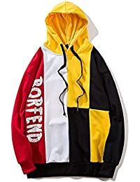 RONGLINGXING Capucha Hombres colorblock con capucha otoño calle hip hop  impreso carta jersey moda deporte ocio dbb0c6db707
