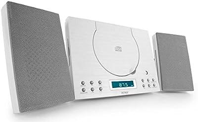 Denver 12120580 - Minicadena de música (CD-R/RW, entrada auxiliar, radio despertador, se puede montar en la pared), color blanco