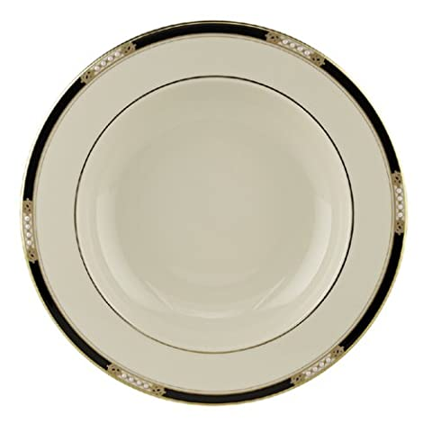 Lenox Hancock 9-Inch Gold-Banded Fine China Pasta/Rim Soup Bowl, Set of 4