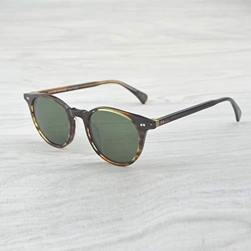 LKVNHP Hochwertige Vintage Runde Sonnenbrille Delray Polarisierte Sonnenbrille Herren & Damen Oculos Feminino Sonnenbrille MarkendesignerStreifen Braun Vs Grün