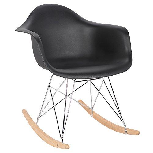 WOLTU® Schaukelstuhl SKS05sz Relaxstuhl Sessel Schaukelsessel Schwingsessel Kunststoff Stahl Holz Schwarz