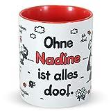 Sheepworld Tasse »Ohne ... ist Alles doof.« mit Wunschnamen, personalisiert (rot)