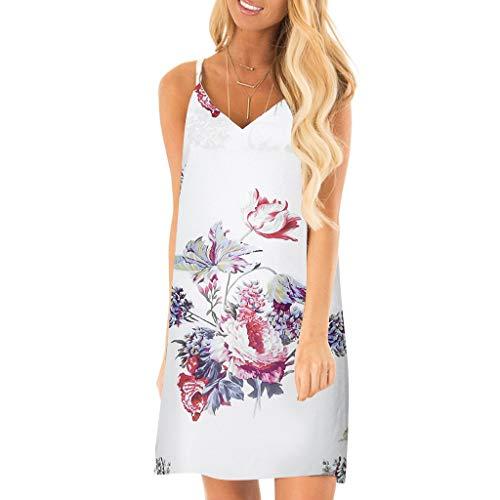Lucky Mall Damen V-Ausschnitt Ärmellos Farbdruck Sling Minikleid, Sommer Rock Mode Lässiges Loses Kleid Bequemes Abendkleid Partykleid Strandrock (Mädchen Für Alltags-kleider)