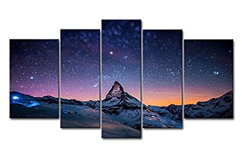 Fresh Look Color 5 Piece Wall Art Picture Starry Night