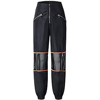 Ai.Moichien Women Boho Harem Pants Hippie Trousers,Sport Net Yarn Zip Patchwork Mid Waist Outdoor Fitness Casual Cargo Harem Pant