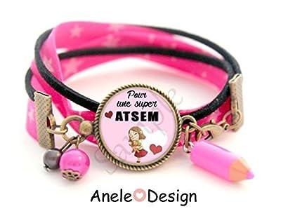 Bracelet liberty Cadeau pour ATSEM fille nounours câlin cœurs rouge- rose noir blanc