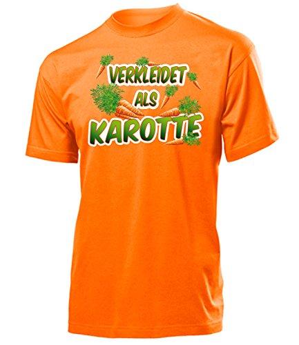 Karotte 4992 Karneval Fasching Kostüm Herren T-Shirt Mann Paar Gruppen Outfit Klamotten Oberteil Gemüse Faschings Karnevals Motto Orange XL