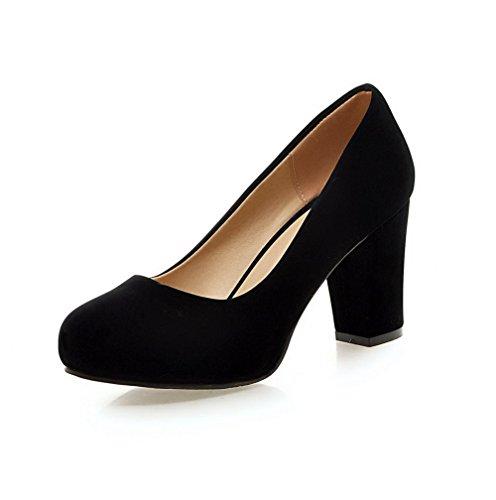 Damen Rein Mattglasbirne Hoher Absatz Ziehen auf Rund Zehe Pumps Schuhe, Rot, 37 AllhqFashion