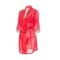 Perspective sexy open three-point bathrobe jacket suit uniform chiffon sexy suit
