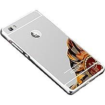 COOSA caso para Huawei P8 Lite, Nueva lujo ultrafino del metal de aluminio Espejo PC de nuevo caso de la cubierta 5.0 pulgadas (Plata)