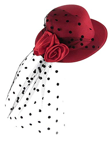 DEMU Mädchen Kinder Faszinator Federhut Haarklammer Minihut Zylinder Cosplay Party Theater Rot (Kostüm Kate Middleton Halloween)
