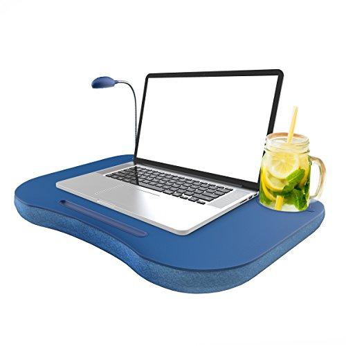 Lavish Home Laptop-Laptop, tragbar mit Schaumstoff-Fleece-Kissen, LED-Schreibtischlampe, Becherhalter, für Hausaufgaben, Zeichnen, Lesen und mehr, Blau - Desk Holder Laptop Cup