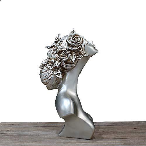 ZHZX Retro Büste Skulptur, EIN stolzes Mädchen Imitation Silber Kunstharz Statue Dekoration, für Innenraum dekorieren, 43cm hoch