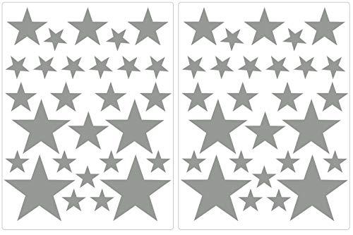 PREMYO Juego 54 Estrellas Pegatinas de Pared Habitación Infantil Niños Bebé Adhesivos Vinilos Decorativos Bonitos Fácil de Poner y Quitar Gris
