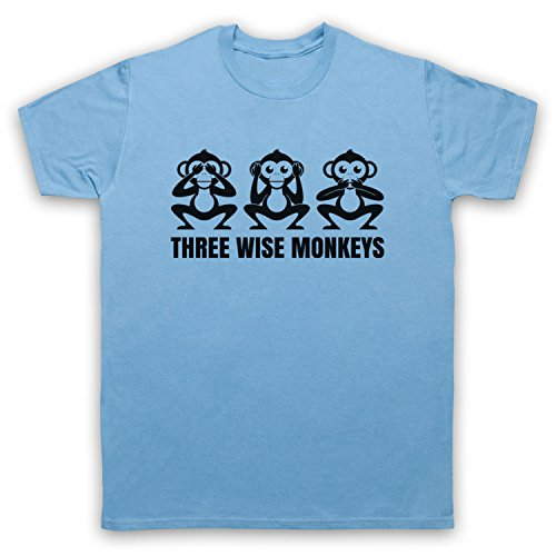 Three Wise Monkeys Fable Herren T-Shirt Hellblau