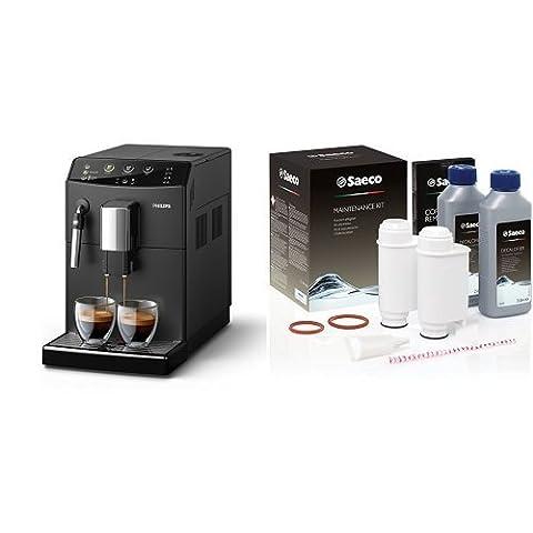Philips HD8827/01 3000 Serie Kaffeevollautomat, klassischer Milchaufschäumer, schwarz mit Rundum Pflegeset CA6706