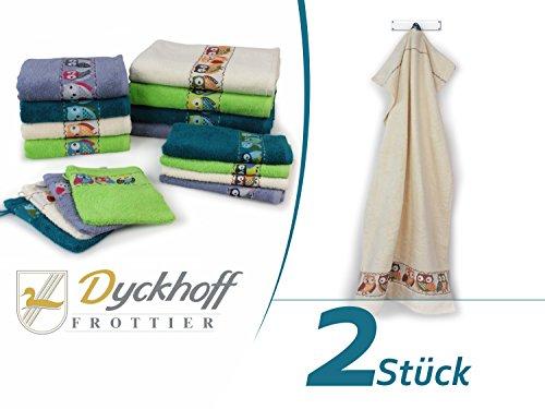 """Frottierserie """"Eule"""" von Dyckhoff - erhältlich in 4 Farben und 4 Größen - mit gewebter Bordüre, Doppelpack Handtücher 50 x 100 cm, natur"""
