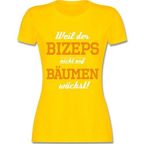 Shirtracer CrossFit & Workout - Weil der Bizeps Nicht auf Bäumen Wächst - Damen T-Shirt Rundhals Gelb