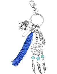 Hexawata Tassel Dreamcatcher Pendant Key Ring Bohemian Feather Shaped Keychain Purse Decor Charm Key Chain For...