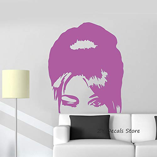 Hermosa mujer salón de belleza tatuajes de pared belleza pegatinas de pared para niñas dormitorio sexy mujer cabeza mural decoración del hogar color-2 56x66cm