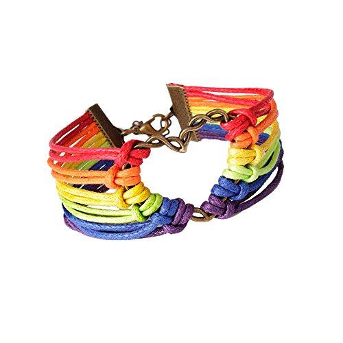 Sunnywill Mode Regenbogen Flagge stolz LGBT Charme Herz geflochtene Armband schwul lesbische Liebe Armbänder für Frauen Mädchen Damen Cartier Liebe Armband Weiß Mit Gold