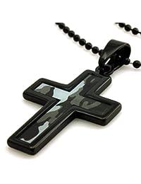 Tungsteno (Plata o Negro) Imágenes Abstractas en Azul Camuflaje Soldado Imprimir Cruz Colgante