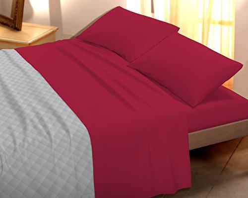 Banzaii set completo lenzuola in cotone tinta unita made in italy due piazze matrimoniale 250x290 cm rosso