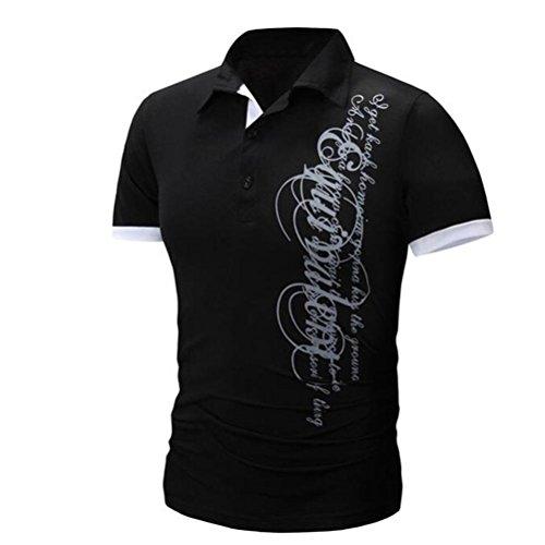 OverDose Herren Kurzarm Bluse Männer Casual Buchstaben Print T-Shirt V-Ausschnitt Polo Hemd Schwarz