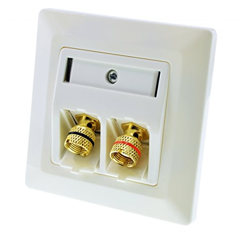 tsnetworks Keystone Modul Lautsprecher Terminal 80x80mm- LS-Polklemme mit Schraubklemme vergoldet, Bananenstecker kompatibel, rot/schwarz
