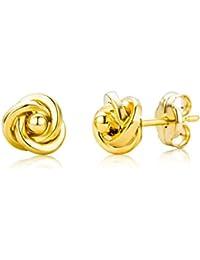 Miore Knoten Ohrstecker für Damen 9 Karat / Elegante Ohrringe aus 375 Gelbgold im Knoten-Design / Hochwertiger Ohrschmuck Ø 6 mm