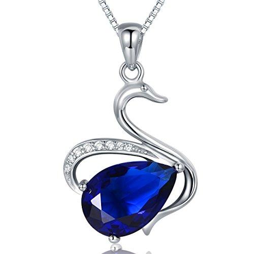 Jiangxin regina dei cigni creato blu zaffiro 925 gioielli in argento collana & pendente per le donne, waterdrop teardrop gemstone fascino animale elegante gioielli regalo
