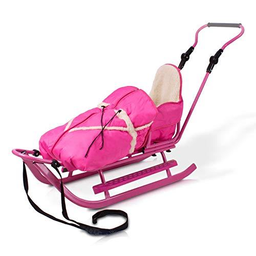 Unbekannt Schlitten Rodelschlitten Babyschlitten mit Rückenlehne, Fußsack und Schiebestange (rosa)