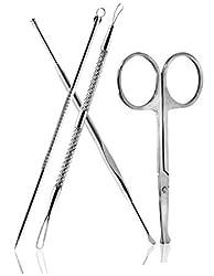 Beauty Smart Comedone Extractors, Ear Wax Removal Earpick, Facial Hair Removal Scissor, 4 PCS Set (4PCS)