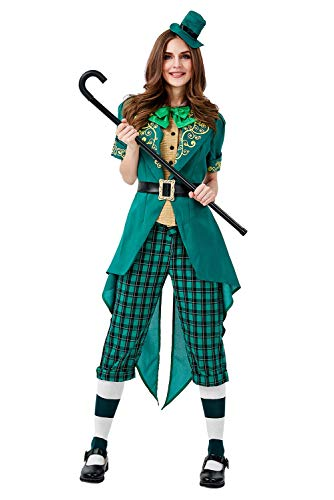 St. Patrick's Day Spirited Chaming Irish Lucky Fairy Leprechaun Cosplay Kostüm Damen Grün - Damen Leprechaun Kostüm
