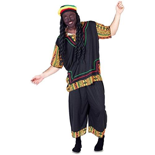 Rasta Kostüm - Spassprofi Kostüm Rasta Man inkl. Perücke mit Dreadlocks Gr. 52 M/L