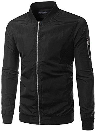 Jeansian Mode Hommes Vestes Casual Jacket Slim Fit Men's Baseball Jacket Windproof Outdoor Jacket Coat 9531 Black