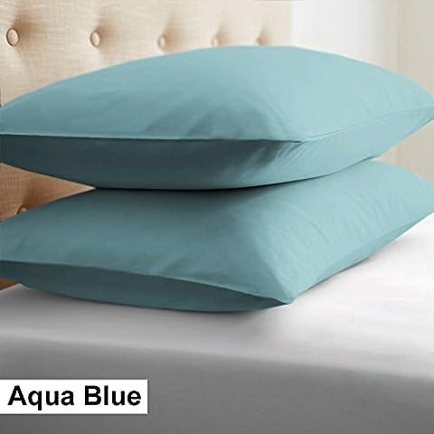Scala Solo color de la funda de almohada de 2PCs Par(Azúl Agua Sólidoo , Oxford Estándar 50 X 75 CM) 100% de algodón egipcio Alta Calidad 500 Thread