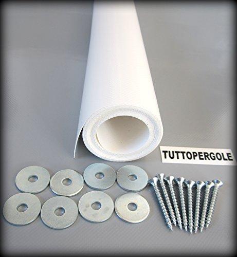 Tuttopergole copertura con fasce in pvc pieno adatte per strutture in legno (cm 630 x cm 60, bianco)